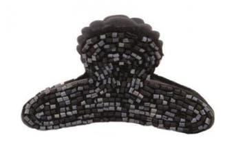 Caravan Shiny Black Bugle Bead On Button Hold Hair Claw