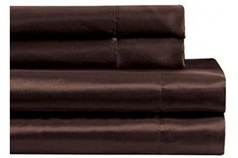 Fancy Collection Satin Sheet Set Super Soft Silky Bedding New (Brown, California King)