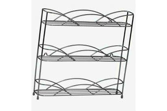 (Organizer, Chrome) - Spectrum Diversified Countertop 3-Tier Rack Kitchen Cabinet Organiser or Optional Wall-Mounted Storage, 3 Spice Shelves, Raised Rubberized Feet, Chrome
