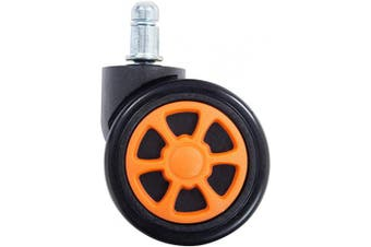 (Orange-wheel) - HEALGEN Gaming Chair Caster Wheels Replacement Heavy Duty Caster Wheels Floor Protecting Smooth Rolling Computer Gaming Chair Universal Fit