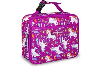 (Standard, Mary the Unicorn) - LONECONE Kids' Insulated Fabric Lunch Box - Fun Patterns for Boys and Girls, Mary the Unicorn, Standard