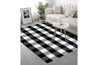 LEEVAN Cotton Buffalo Plaid Rugs 120cm x 180cm Black and White Hand-Woven Chequered Rug Welcome Door Mat Bathroom Outdoor Porch Laundry Living Room Rug for Kitchen Carpet Braided Throw Mat