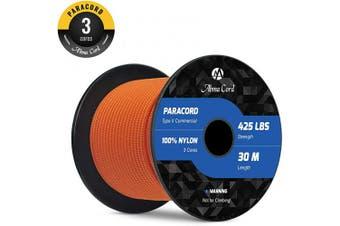 (Orange, 50 Metres) - Abma Cord 3mm Paracord 3 Inner Strands 100% Nylon Parachute Cord - 190kg Breaking Strength(30M/50M)