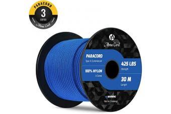 (Dark Blue, 30 Metres) - Abma Cord 3mm Paracord 3 Inner Strands 100% Nylon Parachute Cord - 190kg Breaking Strength(30M/50M)