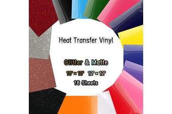 (Glitter & Matte(adhesive Back) - #3) - Heat Transfer Vinyl Sheets, Glitter HTV Vinyl Bundle Iron on for T Shirts, Fabric, Clothing - 16 Pcs Work with Cricut, Silhouette Cameo and Other Cutter Machines - Adhesive Back - Colours #3