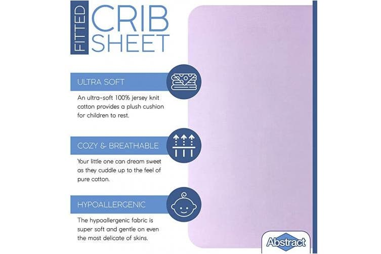 """(60cm  x 100cm  (MINI CRIB), Solid Lavender) - Fitted Crib Sheets for Portable Crib – Super Soft, 100% Jersey Cotton – 24"""" x 38"""" – for Boys and Girls, Fits Mini Mattresses and Toddler Beds - Covered Elastic Hem – Solid Lavender – by Abstract"""