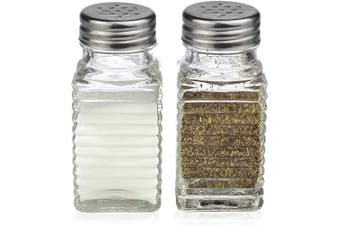 (Modern) - Salt and Pepper Glass Shakers Set Spice Jar (Modern)