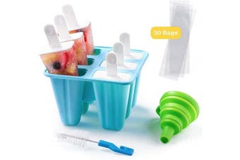 (6 Cavity, Blue) - Shpebs Silicone Popsicle Moulds Silicone Ice Pop Moulds BPA Free Popsicle Mould Reusable Easy Release Ice Pop Maker with Silicone Funnel & Cleaning Brush (6 Cavity, Blue)