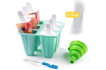(6 Cavity, Green) - Shpebs Silicone Popsicle Moulds Silicone Ice Pop Moulds BPA Free Popsicle Mould Reusable Easy Release Ice Pop Maker with Silicone Funnel & Cleaning Brush (6 Cavity, Green)