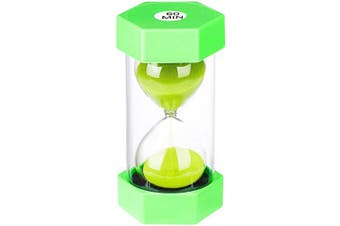 (60 min, Green) - Hourglass Timer 60 Minute, Plastic 1 Hour Sand Timer, Green Sand Clock 60 Minute, Large Sand Watch 60 Min for Kids, Games, Classroom, Kitchen, Decorative, Small One Hour Glass Colourful Sandglass Timer