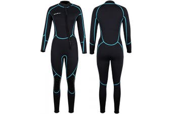 (Medium, Women's Fullsuit) - Mens 3mm Shorty Wetsuit Womens, Full Body Diving Suit Front Zip Wetsuit for Diving Snorkelling Surfing Swimming
