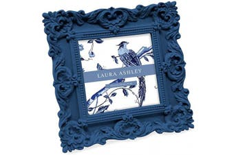 Laura Ashley Ornate Textured Hand Crafted Resin Picture Frame With Easel Hook For Tabletop Wall Display Decorative Floral Design Home Decor Photo Gallery Art More 4x4 Navy Kogan Com
