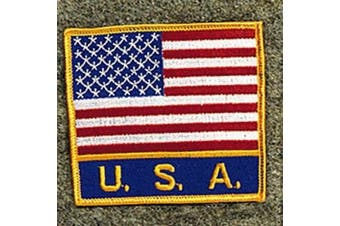 USA America Flag With Word USA Patch
