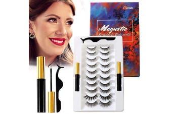 (10pairs) - Coolke Magnetic Eyelashes with Eyeliner-2 Tubes of Magnetic Eyeliner & 10 Pairs of Magnetic Eyelashes,Magnetic Eyelashes Kit