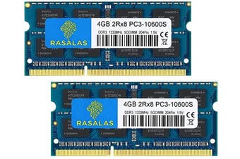 (1333 Sodimm, PC3-10600S 2x4GB Blue) - Rasalas 8GB Kit (2X 4GB) PC3-10600 DDR3 1333 MHz SODIMM RAM Upgrade for AMD Intel Laptop, MacBook Pro 13/2.2cm Early/Late 2011,iMac 50cm Mid/Late 5110cm Mid 2011,Mac Mini 5,1 & 5,2 Mid