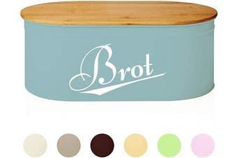 (Oval 36 x 20 x 13,8 cm, Mint | Oval) - Lumaland Cuisine Bread Bin with Bamboo Lid 36 x 20 x 13.8 cm - Metal Bread Box Tin - Pastries Loaf Storage Box - Oval - Bamboo Cutting Board - Bread Stays Longer Fresh - Mint