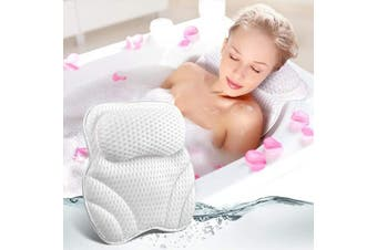 Bath Pillow for Tub Neck and Back Support, Luxury Bathtub Pillow Rest 3D Air Mesh Breathable Spa Pillow with Powerful Gripping Technology 6 Powerful Suction Cups, Comfortable Soft Bath Tub Pillow