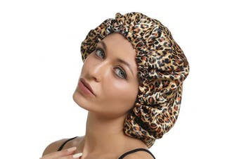 (Leopard-Silver) - Adjustable Silky Satin Sleep Cap Hair Bonnet Double Layered Reversible for Women Protective Sleep Hairstyles (Leopard-Silver)
