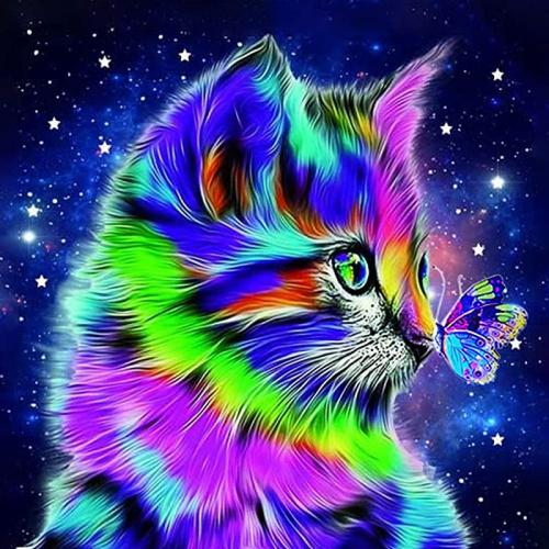 DIY 5D Diamond Painting Kits,Full Drill Cat Gem Paintings Art for Adults and Kids,Round Rhinestone Embroidery Cross Stitch Arts Craft Canvas Wall Decor(11.8x11.8)