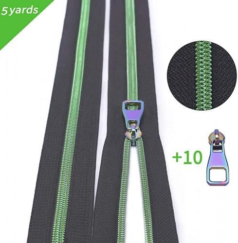 Black Tape Nylon Coil Zippers by The Yard #5-Long Zippers for Sewing Green Metallic Teeth Black Tape 5 Yard with 10PCS Rainbow Slider-VOC Zipper for Tailor Crafts