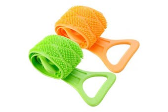(Orange and Green) - 2 Pieces Silicone Back Scrubber Exfoliating Bath Body Belt Brush Silicone Back Washer for Shower Men Women Bathroom Supplies (Orange and Green)