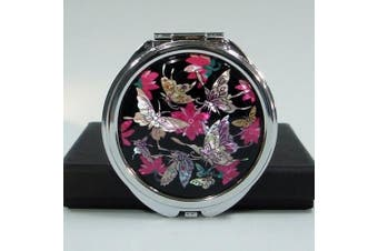 Mother of Pearl Butterfly Design Red Black Double Compact Handbag Mirror