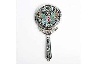 Mother of Pearl Princess Black Cosmetic Makeup Hand Held Mirror with Butterfly Design