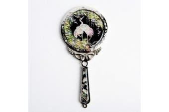 Mother of Pearl Princess Crane and Pine Tree Design Cosmetic Makeup Small Hand Mirror with Crane Design