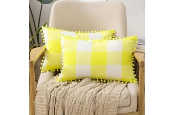 (30cm  x 50cm , Yellow) - MIULEE Set of 2 Retro Farmhouse Buffalo Plaid Cheque Pillow Cases with Pom-poms Decorative Throw Pillow Covers Cushion Case for Sofa Couch 30cm x 50cm Yellow