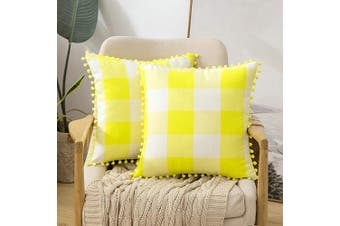(50cm  x 50cm , Yellow) - MIULEE Set of 2 Retro Farmhouse Buffalo Plaid Cheque Pillow Cases with Pom-poms Decorative Throw Pillow Covers Cushion Case for Sofa Couch 50cm x 50cm Yellow