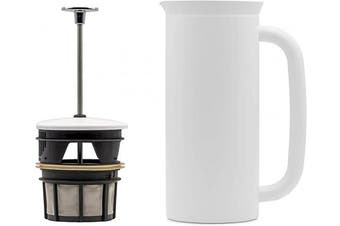 (530ml, Matte White) - ESPRO P7 Double Walled Stainless Steel Vacuum Insulated Coffee French Press, 530ml, Matte White