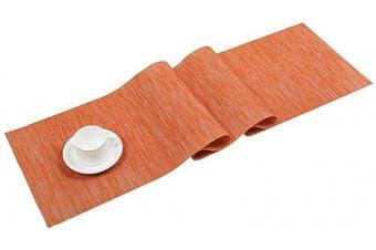(30cm  by 180cm , Orange) - SHACOS Woven Vinyl Table Runner Indoor Outdoor Kitchen Dining Table Runner Wipe Clean Washable PVC Table Runner (Orange, 30cm x 180cm )
