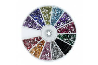 (Style 1) - 350Buy Rhinestones 2400 Piece 12 Colour Nail Art Nailart Manicure Wheels