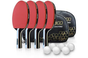 Senston Professional Ping Pong Racket Set, Table Tennis Sets with 4 Bats and 6 Balls, Ping Pong Bats with Carry Case