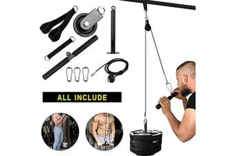 Elikliv 9Pcs Gym Pulley Cable System for Gym, Forearm Wrist Roller Trainer Arm Strength Training Exerciser for Lat Pull downs, Bicep curls, Triceps Extensions Fitness Gym Workout