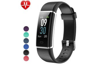 (Black) - Willful Fitness Tracker IP68 Swimming Waterproof, Heart Rate Monitor Fitness Watch Sport Digital Watch with Colour Screen Step Counter Sleep Tracker Call SMS SNS Notice, Smart Watch for Men Women Kids