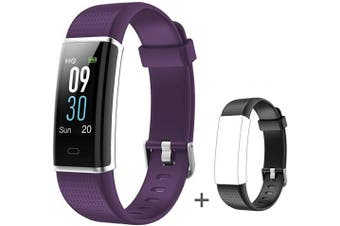(S_Purple+Black Band) - Willful Fitness Tracker IP68 Swimming Waterproof, Heart Rate Monitor Fitness Watch Sport Digital Watch with Colour Screen Step Counter Sleep Tracker Call SMS SNS Notice, Smart Watch for Men Women Kids