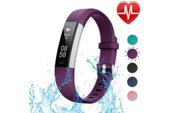 (Purple-X1) - LETSCOM Fitness Tracker with Heart Rate Monitor, Slim Sports Activity Tracker Watch, Waterproof Pedometer Watch with Sleep Monitor, Step Tracker for Kids, Women, and Men