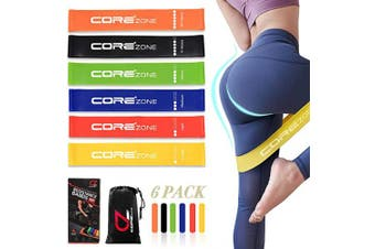COREZONE Resistance Loop Bands Home Fitness Loop Bands Resistance Bands for Women Men Stretching Workout Strength Training Physical Therapy Natural Latex Bands, Pilates Flexbands(Set of 6)