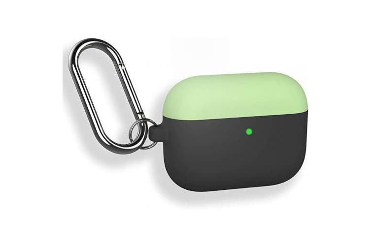 (Avocado Green+Black) - DamonLight AirPods Pro Case Cover [Front LED Visible] Shock-Absorbing Silicone Case with Keychain Compatible with Apple Airpods Pro (Avocado Green+Black)