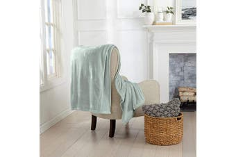 (130cm  x 180cm  Throw, Desert Sage) - Great Bay Home Luxury Velvet Ultra Plush Solid All-Seasons Soft Fleece Oversized Throw. Lightweight, Cosy and Warm. Avianna Collection (Oversized Throw 130cm x 180cm , Desert Sage)
