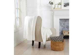 (130cm  x 180cm  Throw, Optic White) - Great Bay Home Luxury Velvet Ultra Plush Solid All-Seasons Soft Fleece Oversized Throw. Lightweight, Cosy and Warm. Avianna Collection (Oversized Throw 130cm x 180cm , Optic White)