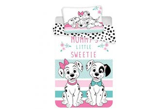 "101 Dalmatian Baby Bedding Set 100 x 135 cm + 40 x 60 cm Cotton Kids Duvet Set,Disney101Dalmatian,Toddler Bed Duvet Cover Set,Official Licenced (53.1"" x 39.3"" inch))"