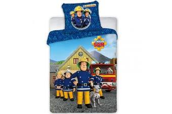 "Faro Tekstylia Fireman Sam 038 Children's Bed Linen Set: 100 x 135 cm Duvet Cover + 40 x 60 cm Pillowcase Kids Duvet Set Fireman Sam,Toddler Bed Duvet Cover Set Official Licenced(53.1"" x 39.3"" inch))"
