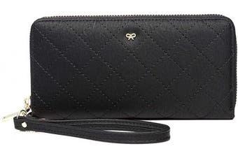 KOWENTIK Women Wallet Leather Zip Phone Clutch Large Travel Organiser Zipper Coin Purse Wristlet (Wallet Type6-Bow-Black)