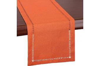 (14x120) - Grelucgo Large Handmade Hemstitch Orange Thanksgiving Table Runner, Fall Autumn Decorations (36cm x 300cm )