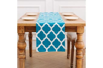 (30cm  X 230cm , Teal Blue) - NATUS WEAVER 2 Side Lattice Cotton Geometric Moroccan Trellis Table Runner for Dining Room, Foyer Table, Summer Parties and Everyday Use - 12 x 90, Teal Blue