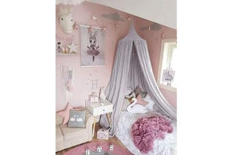 (Grey) - Maydolly Baby's Cotton Bed Curtains Kid's Dome Bed Canopy(Grey)