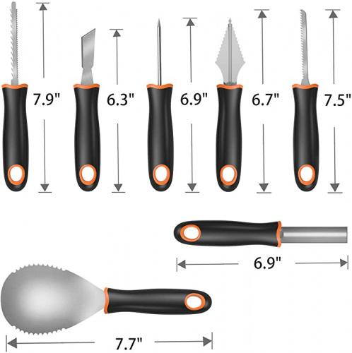 QcoQce 7Pcs Sharp Stainless Steel Labor-saving Tools for DIY Pumpkins Decoration Heavy Duty Durable Carving Set Include One Skull Container Halloween Pumpkin Carving Kit