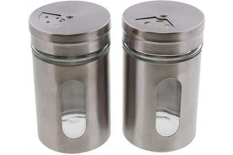 (Silver) - Silver Salt Pepper Shakers Retro Spice Jars Glass - Set of 2